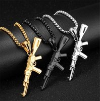Hip Hop Refined Stylish Iced Out Gold Silver Color Alloy AK 47 Gun Pendants Necklace For Men Rapper Jewelry H0918