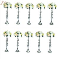 Candle Holders 10PCS Silver Metal Flower Vases Candlestick Wedding Table Centerpieces Event Road Lead Party Stands Rack