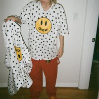 Designer Drew House T-shirt Einfache Polka Dot Smiley Gesicht Tops Männer und Frauen Paar Lose Rundhals Kurzarm Baumwoll T-Shirt Trendy T-Shirt