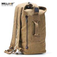 Bolsa de viaje de hombre grande Mochila para montañismo Masculino de equipaje Cubo de lona de lona de hombros Bolsas del ejército para niños Mochilas Mochilas XA88C 201118