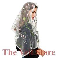 Bridal Veils Mantilla Chapel For Church Women Scarf HeadCover Latin Mass Vintage Velo De Novia Mantille Embroided Floral Lace