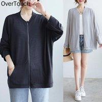 Women's Jackets Plus Size Women Sweatshirts Solid Basic Zipper Cotton Short Thin Loose Coat Casual Base Korea Female 4 Colors