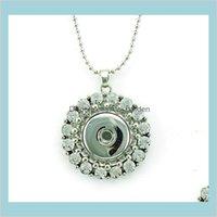 Anhänger Mode Anhänger Halsketten 18mm Ingwer Snap Button Retro Strass Kreis Infinity Ketten Halskette Für Frauen Schmuck Drop Del
