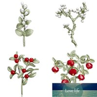 Enamel Plant Brooches Green Leaf Red White Fruit Pearl Brooch Collar Shoe Lips Clothing Pins Badge for Women Men Jewelry Factory price expert design Quality Latest