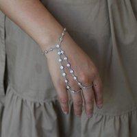 Elegance Multi Layer Chain Tassel Women's Bracelet Bangle Slave Finger Jewelry Tiny Drop Cz Station For Women Charm Bracelets