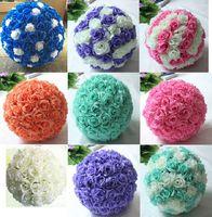 6 Boyutu İpek Öpüşme Gül Çiçek Satış Düğün Parti Dekorasyon için U Renk Yapay Dekoratif Çiçek Topları Seç