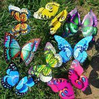 Borboleta de fada colorida na vara ornamento casa jardim vaso gramado arte artesanato D04 20 Dropshipping q0811
