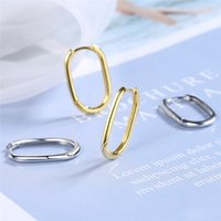 925 Sterling Silber koreanische geometrische ovale Ohrschnalle Temperament Frauen Gold Retro sexy heiße elegante Liebesohrringe Geschenk 2792 Q2
