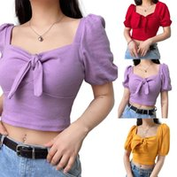 Womens Solid Color Square Neck T shirt Bowknot Puff Short Sleeve Slim Fit Knit Crop Tops Women Top Quality Clothes