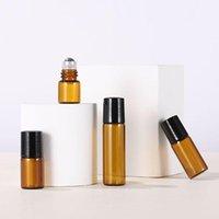 1 ML 2 ml 3 ml 5 ml Amber Parfüm Rulo Metal Rulo Topu ve Siyah Kapaklı Mini Esansiyel Yağ Şişeleri