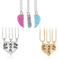 Chains 3 Pcs Set Heart Necklace Big Sis Mom Little Carved Pendant For Mother's Day Gifts Women Jewelry Charms Family Daughter