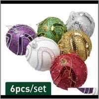 Event Festive Supplies & Garden6Pcs Ball Colored Pendant For Christmas Tree Decoration Home Wedding Party Ornament Xmas Hanging Decor Drop D