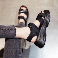 Summer Flat New Thinew Bottom Fairy Style Velcro Versatile High Heel Sports Sandals Women's Fashion EY35