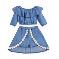 kids Clothing Sets girls outfits children ruffle off shoulder Tops+Flower Short skirts 2pcs set Spring Autumn Korean version baby Clothes Z4358