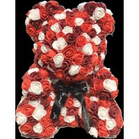 40cm Bear of Roses Artificial Flowers Home Wedding Festival DIY Cheap Wedding Decoration Gift Box Wreath Crafts Best Gift for Chri