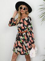 Women's Hoodies & Sweatshirts 2021 Style Factory Price Ladies Fashion High Quality Autumn Printed Waist Long-Sleeved Dress