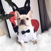 Pug Bulldogs Shirt Suit Clothes Pet Dog Wedding Party Costume Dress Swallow Tail Plus Size For Supply Apparel
