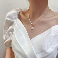 Halskette Nelace Simple Natürliche Abnormität Perle Kette Spleiß Clavicle Light Luxury Design OT Button Wassertropfen Anhänger NE