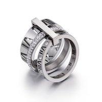 Anelli a fascia in acciaio inox oro rosa numeri romani anello anello gioielli di moda anello di gioielli da donna gioielli di fidanzamento da donna per le donne