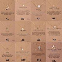 12 estilos Chegada Colar Dogeared com cartão de presente Elefante Pérola Awing Awing Cruz Key Zodiac Sign Pingente Para As Mulheres Moda Jóias