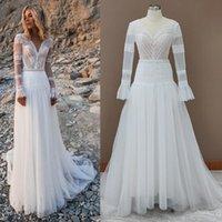 Other Wedding Dresses Beach Bohemian V Neck Long Sleeves Lace Appliques Dream Bridal Gowns Boho A Line Princess Plus Size