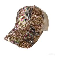 Party Hat Fashion Sequin Cap Baseball caps Summer Outdoor Breathable Sunshade Women's Net Hats 16 style T500710