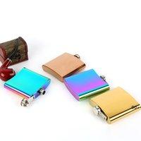 6oz HIP Frascos de cadera placa de color arco iris matraz de acero inoxidable con embudo gratis EWD5916