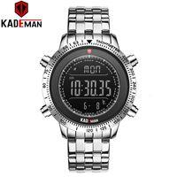 Top Watch Kademan Luxo Mens 'Es Tech Marca Qualidade Esporte Step Counter Digital 3ATM Full Steel LCD LCD Pulso Militar
