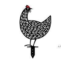 수탉 암 탉 아크릴 동물 스테이크 가든 실루엣 야드 아트 닭 조각 동상 장식품 잔디 야외 장식 치킨 마당 아트 DWF6921