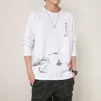 T-shirt manica lunga T-shirt primavera autunno stile cinese sciolto cotone top cotone in cotone top cappotto uomo