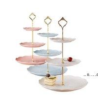 NewFashionable estilo europeu 3 camada bolo placa stand punho encaixe de prata ouro festa de casamento haste EWF5659