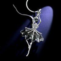 Crystal Long Catena Collana Cappotto Maglione Silver Color Ballet Girl Vintage Per Donne Regalo Goccia Collane pendente