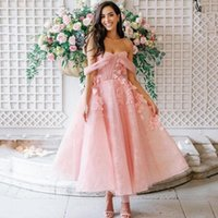 Party Dresses Thinyfull Pink Prom Off Shoulder Tea Length Dress 3D Flower A-Line Wedding Evening Cocktail Ball Gowns Plus Size