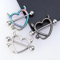 1 paire 14g acier inoxydable piercing de poitrine de poitrine cardi cardiaque piercings barbell sexy bar bagues bouclier couverture