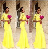 2021 Africa Yellow Bridesmaid Dresses Elegant Fashion Half Sleeves Jewel Neck Mermaid Wedding Party Dresses Appliqued Long Prom Gowns