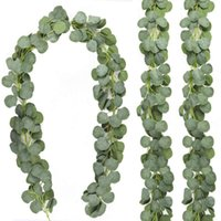 Artificial Eucalyptus Garland Faux Silk Leaves Fake Vines For Wedding Party Indoor Outdoor Home Wall Decor Decorative Flowers & Wreaths