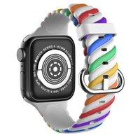 Miękki pasek silikonowy Band Dual Colors Rainbow do Zegarek Apple Iwatch 7 6 2 3 4 5 Seria 38mm 42mm 40mm 44mm