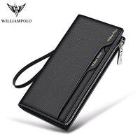 Williampolo tarzı moda alaşım erkekler hakiki deri cüzdan yüksek kapasiteli kart tutucu çanta fermuar çanta cüzdan