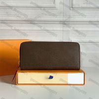 Top de alta qualidade carteiras de couro mulher zipper moeda bolsa desenhador carteira de carteira de lona titular bolso l mulheres embreagens saco com caixa