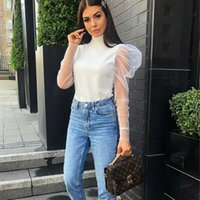 Women's Blouses & Shirts Meihuida See-through Women Mesh Sheer Blouse Top Transparent Lace Puff Sleeve Tops Summer Casual Female Cover Up