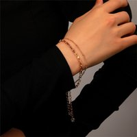 Korean Metal Double Layer Thin Chain Geometric Business Crystal Circle Bracelets Women Party Gift Alloy Summer Hand Jewelry Sets Accessories Wholesale