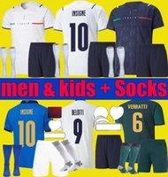 2021 2022 Italie Accueil Jersey Jersey Hommes Kids Chiesa Kits 21 22 Italia Maglie Da Calcio Verratti Jorginho Romagnoli Immobile Football Shirts Ensembles