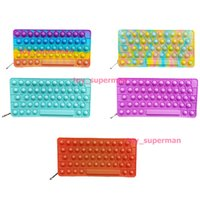 Fidget Toys pencil case Colorful Push Bubble keyboard With letters Sensory Squishy Stress Reliever Autism Needs Anti-stress Rainbow Adult Toy For Children
