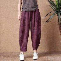 Shimai Damen Baumwolle Leinenhosen Elastische Taille Vintage Hosen Dame Lose Beiläufige Hosen S-2XL Retro Literaturen Baumwollhose 211008