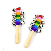 Baby Rattle Rainbow Educational Toy Bell Vocal Toys Party favor Kid Pram Crib Handle Wooden Activity Bells Ring Noise Maker Stick Shaker Rattles Children Gift JY780