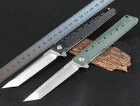 1Pcs Flipper Folding Knife 8Cr14Mov Satin Tanto Point Blade G10 + Stainless Steel Handle Ball Bearing Fast-opening EDC Pocket Knives