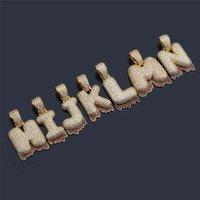 Pendant Necklaces OMYFUN A-Z Bubble Letters Drip Hip Hop Bling Jewelry Gold Color Collar CZ Paved Initial & Pendants Bijoux