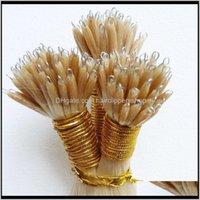 Предопределенные перуанские нано-кольцевые наращивания волос 1G Strand 200s Color от 14 до 26 дюймов Кератин Клей прямой Человеческий Губси Apxyu