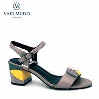 Vair Mudo Femme Sandales Femmes Sandales En Cuir Véritable Talon épais Chaussure Strap Strap Spring Summer Chaussures Couture Couleur Couleur Couleur Dame LX29 B85G #