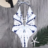 Women's Swimwear LIVA GIRL Sexy Women White Blue And Porcelain Style Beach Swimsuit One-piece Bikini Set Push-ups Sling Monokini